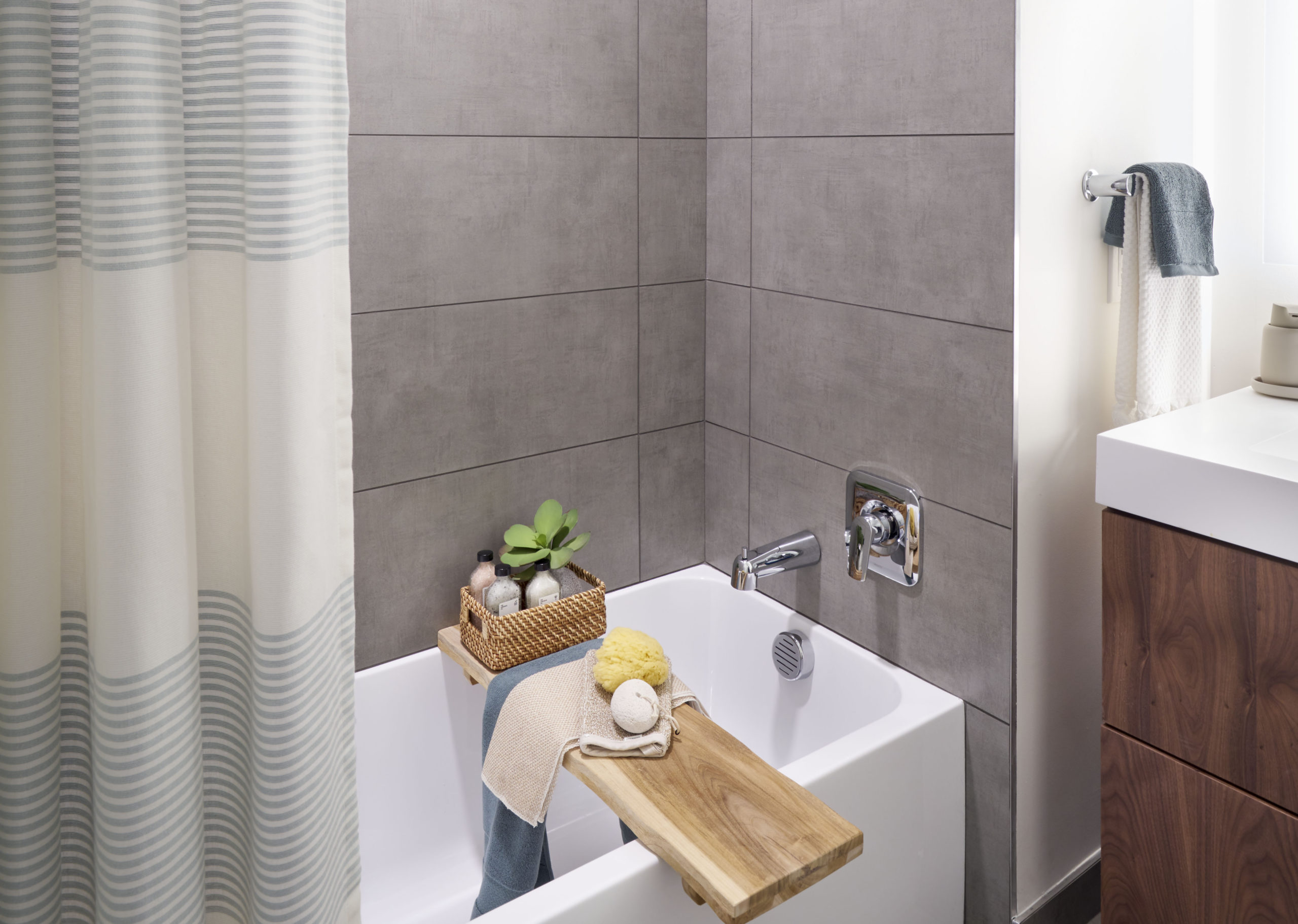 modern bathroom soaker tub and tiles bath jersey city apartments
