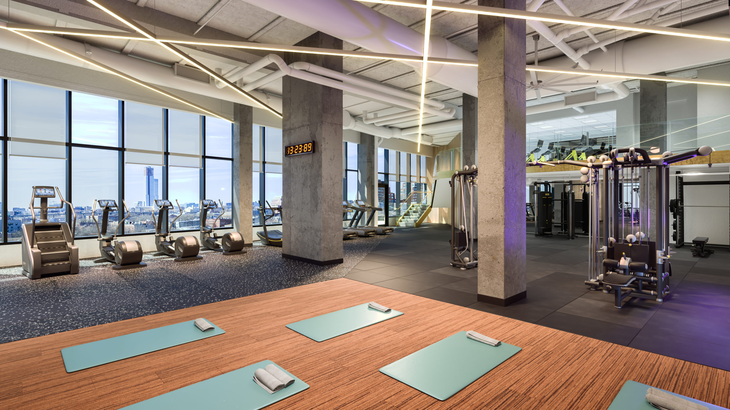 vyv south fitness center with yoga matts and ellipticals