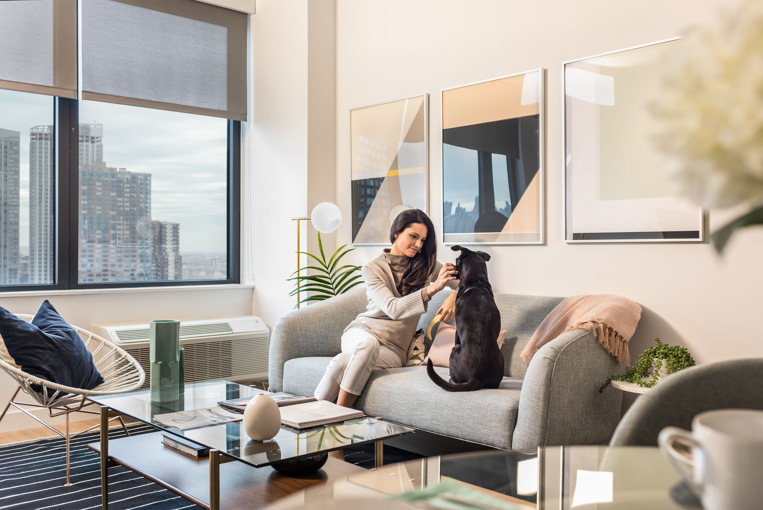 Expansive windows and high ceilings create light-filled living spaces for you and your pet.